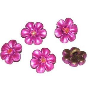 Boton flor esmaltada fucsia 10mm. Bolsa 2 und